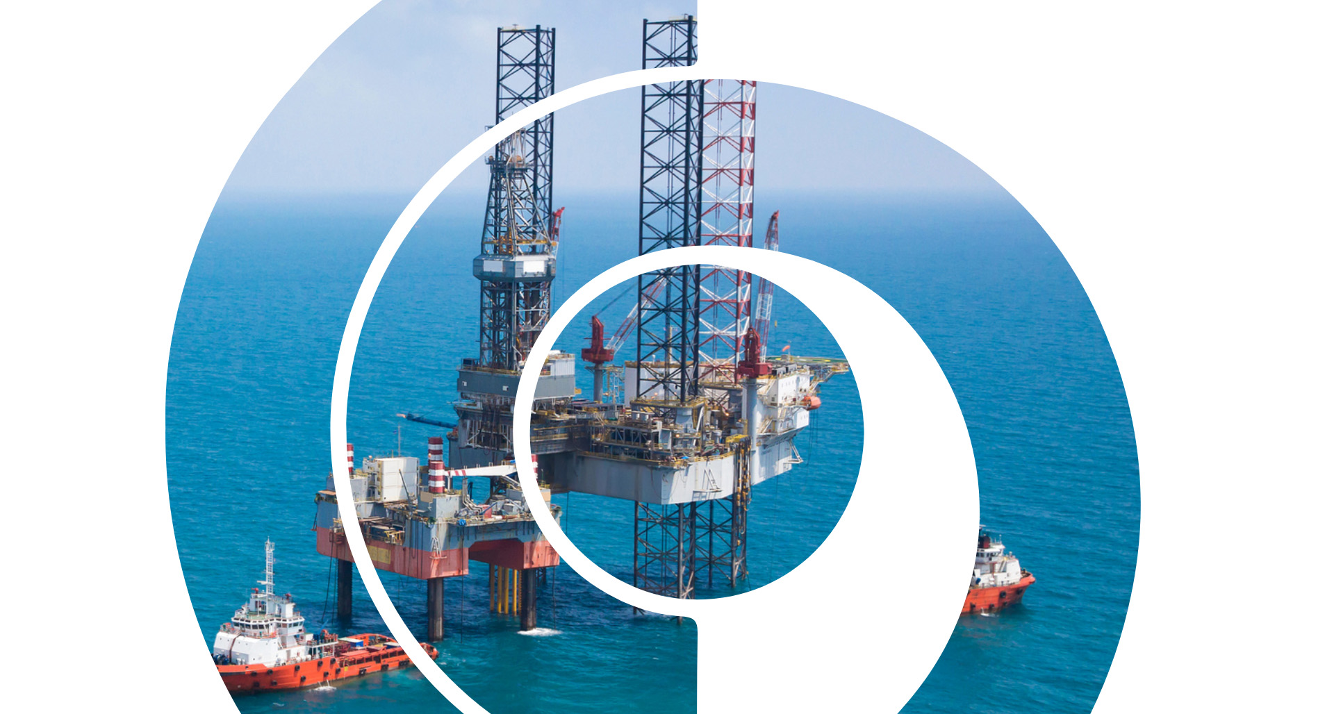 Offshore rig within Forth and Tay Decommissioning logo